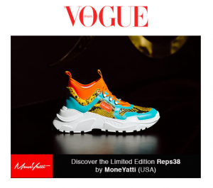 MONEYATTI YELLOW PYTHON ON TURQUOISE AND ORANGE IS THE HOT SUMMER PICK FOR VOGUE FASHION SNEAKERS