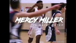 """Mercy Miller 8th grade 6'2 """" point guard goes for 25 point in a high school game"""