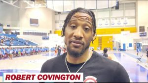 NBA Portland Trail Blazers Robert Covington supports Hercy Miller Camp 15 books & ball Nashville TN.